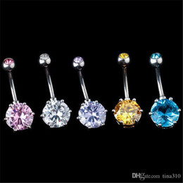 Wholesale Elegant belly button rings European and American fashion round diamond belly button nailing Body piercing jewelry navel ring