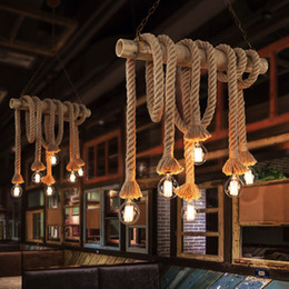 Chinese  DIY Industrial Vintage Hemp Rope Chandelier Pendant Light Bamboo Ceiling Laight Creative Personality Edison Retro Decorative Chandelier #05 manufacturers
