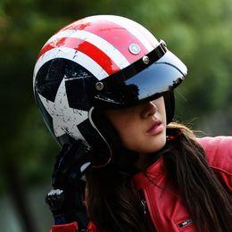 Xxl Motorcycle Half Helmets Australia - 2016 New Captain America flag TORC Harley style motorcycle helmet ABS Prince helmet T50 Team USA Motorcycle helmets