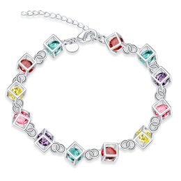 $enCountryForm.capitalKeyWord NZ - Colorful Stone Crystal Charms Bracelet 925 Sterling Silver Bracelet Silver Plated Rhinestone Crystal Jewelry Rolo Chain Square Accessories