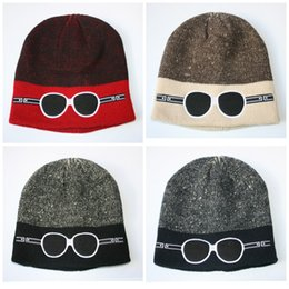 Knitted hat patterns for women online shopping - Casual Hip Hop Cap Cartoon Glasses Pattern Knitted Hat Plain Weave Embroidery Double Colors Wool Beanie For Men And Women br B