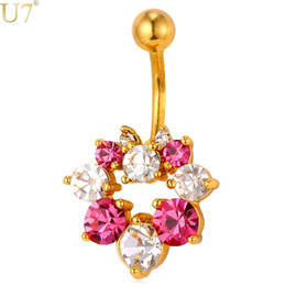 China unique Gold Crystal Flower Navel Ring Women Body Jewelry 18K Gold Plated   Platinum Trendy Gift Beach Party Belly Button Ring DB003 cheap jewelry belly button rings suppliers