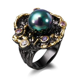 Vintage black pearl ring online shopping - new Elegant Unique Vintage Rings for Women Purple CZ Bague Black Gold Color Anillos Mujer Created Pearl Wholesales