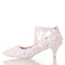 Platform Glitter Ankle UK - Beautiful White Bride Shoes Lace Platform Formal Dress Shoes with Ankle Straps Glitter Sequins Party Prom Pumps Pointed Toe