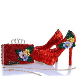 matching shoes clutches 2020 - New Design Red Rhinestone Heels with Matching Bag Appliques and Crystal Wedding Bridal Shoes Party Prom Pumps with Clutc