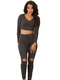 9cd9cfaf93d Wholesale- Two Piece Outfits Fitness Crop Top V Neck Sexy Jumpsuit Track  Suit Knee Hole New Bodycon Bandage Bodysuit Summer 2016 Fashion