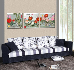 Beautiful peonies painting online shopping - Beautiful Peony Flowers Fine Floral Painting Giclee Print On Canvas Home Decor Wall Art Set30210