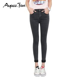 Wholesale-2017 Spring Autumn Women Ankle-Length Cuffs Black Jeans Students Stretch Skinny Female Slim Pencil Pants Denim Ladies Trousers