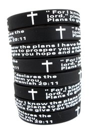 wholesale bulk crosses UK - Bulk Lots 100pcs English jeremiah 2911 lords prayer Men Fashion Cross Silicone bracelets Wristbands wholesale Religious Jesus Jewelry Lots