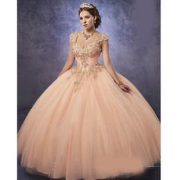 613b1510e Espumosos tul vestidos de quinceañera Correas desmontables y cintura vasca  Vestido melocotón dulce 16 con cordones Volver