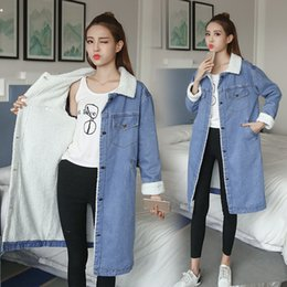 Barato Casaco Longo Peter Pan Colar-Denim Long Coat Mulheres Casual Windbreaker Loose Peter Pan Collar Coxas no joelho