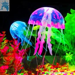 Jellyfish Night Lamp NZ - 6 Colors Cute Fluorescent Glowing Effect Jellyfish Aquarium Fish Tank Ornament Swim Pool Bath Deco Mini Night aquarium lamp