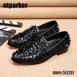 $enCountryForm.capitalKeyWord Canada - Italian Handmade Men's Flats Shoes Loafers Rivets Black Men's Casual Dress Shoes for Men Wedding Party Stage Shoes!