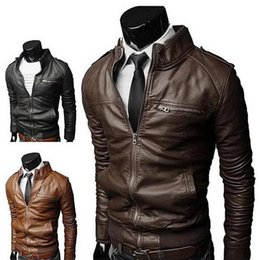 Wholesale brown leather jacket men sale resale online – Hot sales Winter Fashion Stylish Brand Men s leather Jacket Collar Stand Slim Motorcycle Faux Leather Male Coat Outwear Jacket