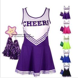 Barato Roupas Femininas Para Festas-Atacado-Sexy High School Cheerleader Costume Cheer Girls Uniform Party Outfit com Pompoms