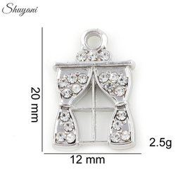 Rhinestone Window Curtain Charms Pendant Alloy Metal Floating Locket For Necklaces Jewelry Accessories Silver Gold Plated