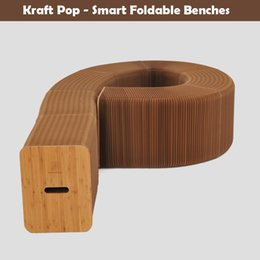 $enCountryForm.capitalKeyWord Canada - H42xL600cm Novel Innovation Furniture Pop - Smart Bench Indoor Universal Waterproof Accordion Style Foldable Kraft Paper Chair For 9 Seats