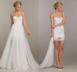 Detachable Bow Dress Canada - 2016 Summer Holiday Convertible Short Beach Boho Party Wedding Dresses Two Pieces Detachable Overskirt Cheap Lace Wedding Gown