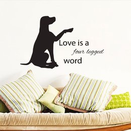 word stickers for walls NZ - Love Is Four Legged Word Wall Stickers Quotes DIY Animals Wall Decor Labrador Dog Wall Decals Vinyl