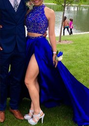 Barato Abendkleid Prom-Muslimischen Abendkleid 2016 Frete grátis Halter Crystals Royal Blue Evening Dress Sexy Two Piece Prom Dresses