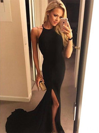 Barato Halter Neck Dress Split-Sexy Halter Neck Elegant Black Mermaid Evening Dresses Side Split Backless Prom Dresses Cheap Long Red Carpet Dresses