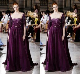 dress sequin cape blue Canada - 2017 Purple Everning Dresses Sheer Neck Applique Sequins Cape Style Satin Floor Length Evening Gowns Runway Fashion Formal Party Dresses