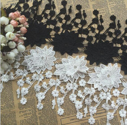 Black White Bedding Wholesale NZ - 15Yard White Black Flower Tassel Cotton Lace Fabric Trim Ribbon For Apparel Sewing DIY Bridal wedding Doll Cap Hair clip