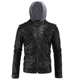 Barato Jaquetas De Couro Dos Homens Hoodies-4XL Hoodie Jacket For Mens THOOO Marca Mens Outono PU Casacos de couro Faux Leather Business Outwear Slim Fit Motorcycle Jacket J161017