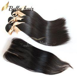 Discount hair bundles way closure - Peruvian Virgin Hair 4pcs lot 3 Part Way Top Lace Closure with Bundles Hair 3PCS Unprocessed Human Hair Extensions Strai
