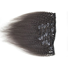 Discount clip malaysian hair extensions - 100% Peruvian human hair kinky straight 7pcs clip in hair extensions natural black hair weft G-EASY