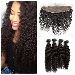 cambodian virgin hair deep waves 2019 - 4 Bundles With Lace Frontal Closure Natural Black Peruvian Virgin Hair Deep Wave Deep Curly Human Hair Closure G-EASY di