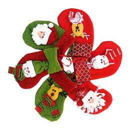 Short Cloth Hanging Bags Canada - Lovely Mini Christmas Stocking Socks Santa Claus Candy Gift Bag Xmas Tree Decorations Festival Party Tree Hanging