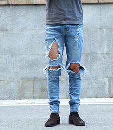patchwork knife NZ - Hot sales of new water holes KANYE WEST knife knee damage whiskers side zipper Slim jeans Free shipping