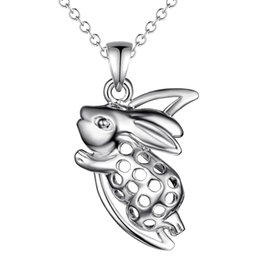 China 925 silver rabbit pendant necklace zodiac fashion jewelry cute birthday gift top quality free shipping hot cheap rabbit necklaces suppliers