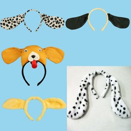 dalmatian gifts UK - 2018 Animal Dog Dalmatian Ear Headband Kids Tail Cosplay Performance Show Hair Accessories Halloween Birthday Party Favors Gift
