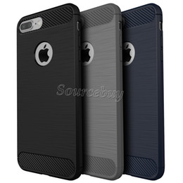 iphone hybrid shockproof armor case NZ - Carbon Fiber TPU Case For Iphone 7 6 Plus Hybrid Armor Cases For Galaxy S7 J7 P9LITE Shockproof Combo Texture Brushed Back Cover
