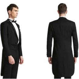 Mens Black Suit Bow Canada - New Desgin Tailcoat Groom Tuxedos Black Mens Suits Double Breasted Trim Fit Best Man Magician Performance Formal Wears(Jacket+Pants+Bow)
