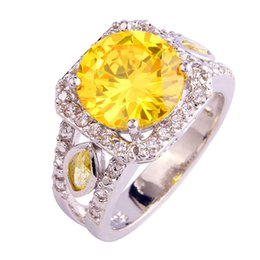 Chinese  Factory 925 Jewelry Round Yellow Citrine White Topaz Silver Fashion Ring Size 7 8 9 10 Free Shipping Wholesale manufacturers