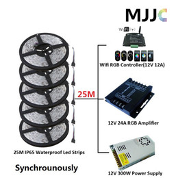 $enCountryForm.capitalKeyWord Canada - Synchronously 25M SMD 5050 Waterproof IP65 RGB LED Strip Light +1PC Wifi 12A RGB Controller+1PC 12V 25A 300W Power Supply + Connectors