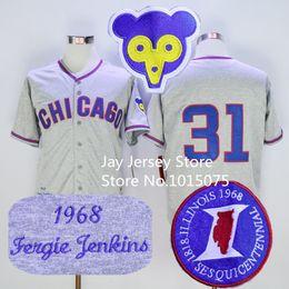 91f6e12d ... 1968 1969 Throwback Vintage Stitched 26 Billy Williams Baseball Ferguson  Fergie Jenkins Jersey 31 Chicago Cubs Jerseys Grey ...