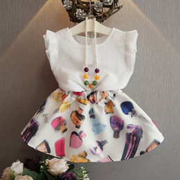 Korean Perfumes NZ - 2016 Korean Style Girls Pretty Colorful Perfume Bottle Printed Princess Outfit Sleeveless T-shirt And A-line Skirt with necklace 2 pcs Set
