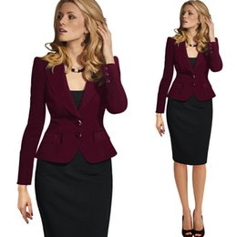 Manteau En Coton Pour Femme Pas Cher-Fashion Slim Lapel Collar Coat Femmes Blazers Single Breasted Long Sleeve Ladies Vêtements formels Costumes élégant Misses Wear Casual Jackets