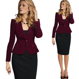 Barato Casaco De Lapis De Mulher S-Moda Slim Lapel Collar Coat Mulheres Blazers Single Breasted Long Sleeve Ladies Formal Clothes Elegante Trajes Misses Wear Casual Casacos