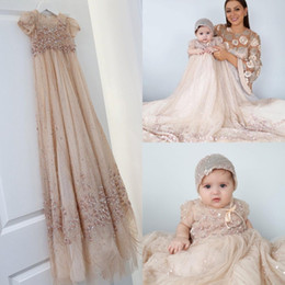 Wholesale Bling Bling Champagne Baby Christening Gowns Full Sequins Baptism Outfits Bead Formal Infant Girl Wear With Bonnet