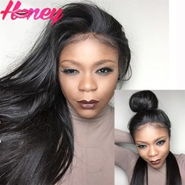 free virgin lace wigs Canada - Glueless Full Lace Human Hair Wigs Silky Straight Lace Front Wigs Brazilian Virgin Stright Full Lace Wig For Black Women Free Part