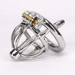 gay male chastity belt Canada - Stainless Steel Male Bondage Chastity Belt With Urthral Dilators Penis Ring Metal Short Cock Devices For Men Gay Adult Sex Product