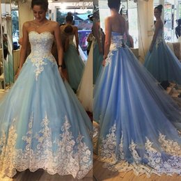 Robes Bleu Blanc Pas Cher-2017 Robe de bal Robes de quinceanera Sweetheart Blanc Appliques Tulle Custom Made Light Sky Blue Sweet 16 Robes Robes de bal Lace Up