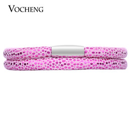 Chinese  VOCHENG Endless Rose Sheep Leather Interchangeable Bracelet 4 Sizes Single&Double Stainless Steel Magnet Clasp Women Bangle VC-206 manufacturers
