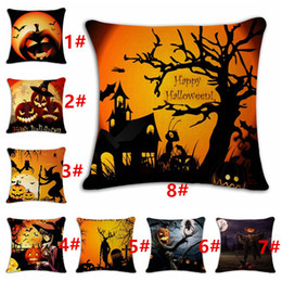 funny pillow cases NZ - Pillow Cases Halloween Funny Skull Cat Old Oak Tree Square Linen Cushion Cover Shams Comfortable Home Halloween Decorations 45*45 CM
