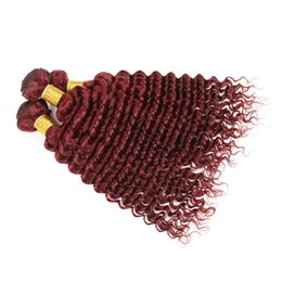 $enCountryForm.capitalKeyWord NZ - Peruvian Burgundy Double Layer Hair Weft Deep Curly Wine Red Human Hair 3 Bundles 99J Deep Wave Peruvian Hair 3 Bundles